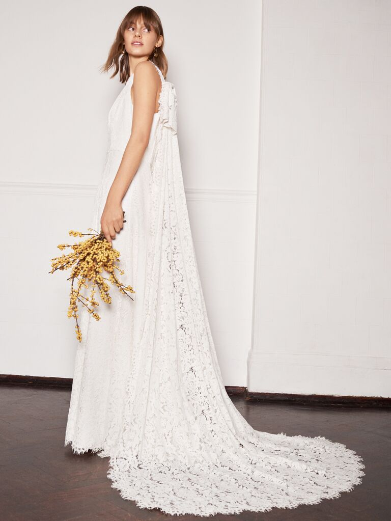 Whistles Wedding 2019 Bridal Collection white lace A-line sheath dress with lace cape train