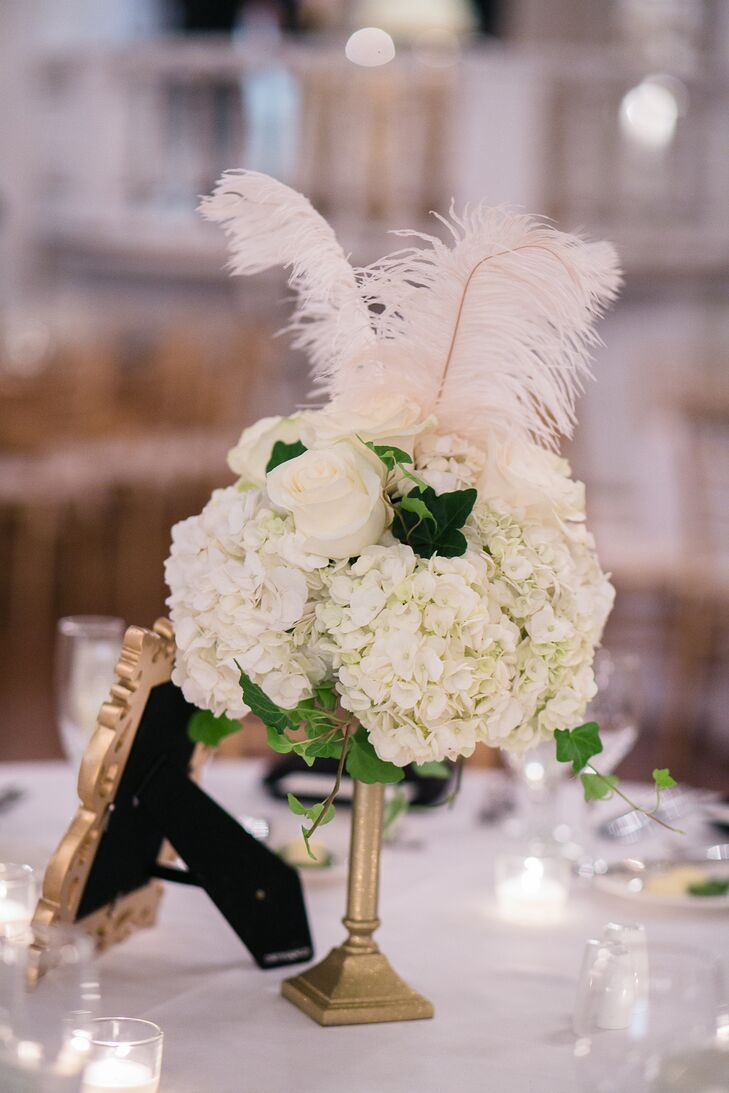 White Hydrangea And Feather Centerpieces