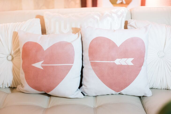 Pink hearts and an arrow adorned some pillows in one of the lounge areas.