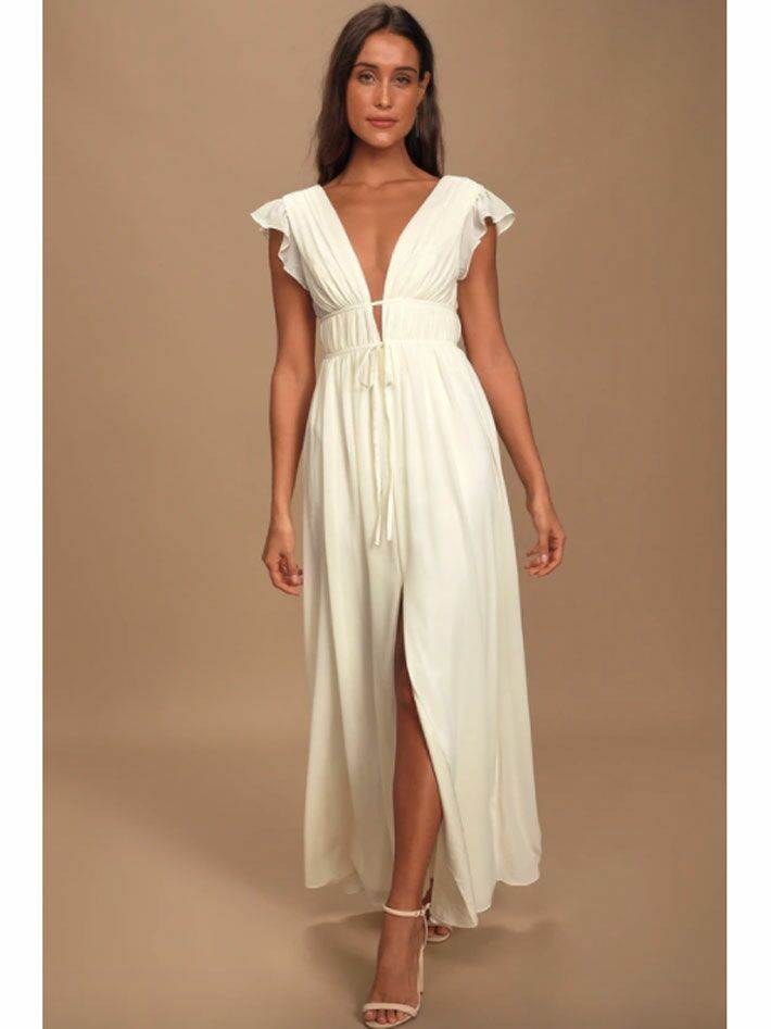 Cream maxi dress with plunging neckline and ruffled sleeves