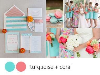 Turquoise and coral color combination
