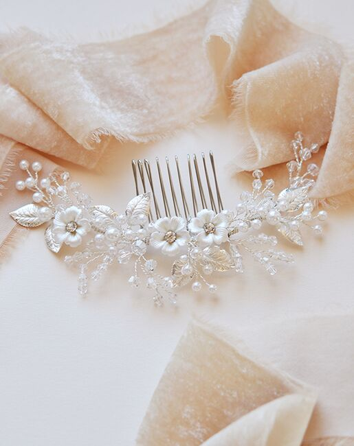 Dareth Colburn Josette Flower Comb (TC-2299) Silver Pins, Combs + Clip