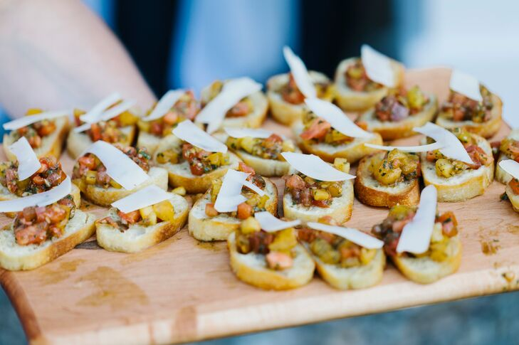 Bruschetta Passed Appetizers with Fresh Tomatoes