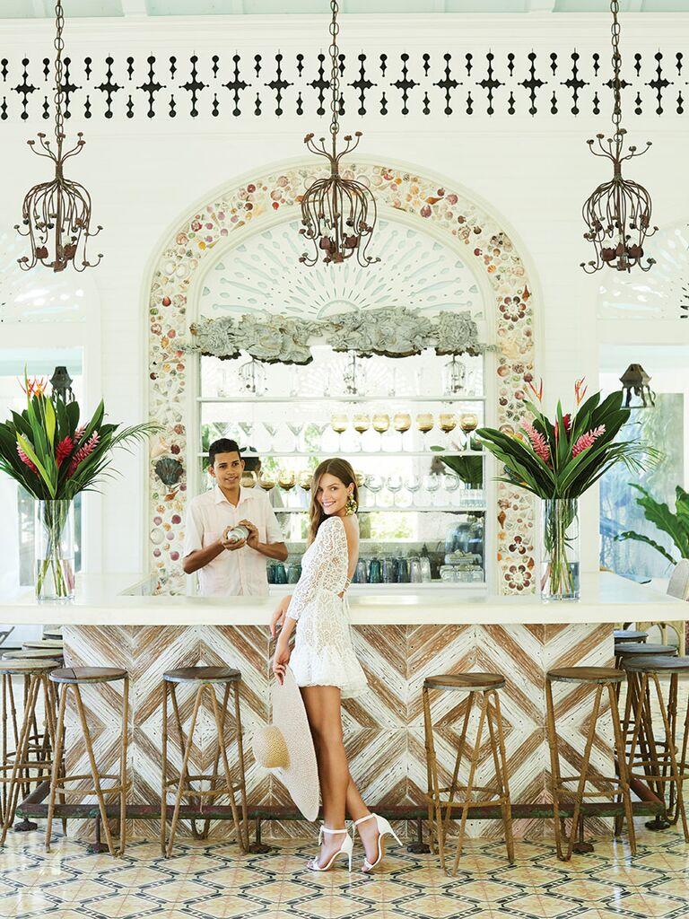 Rime Arodaky short lace wedding dress and Alexandre Birman shoes