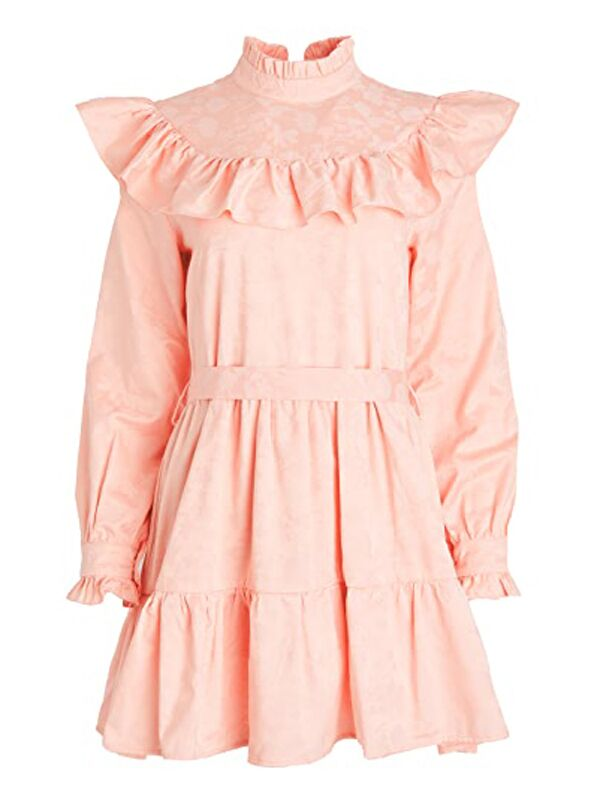 Blush pink mini dress with ruffles and high neckline