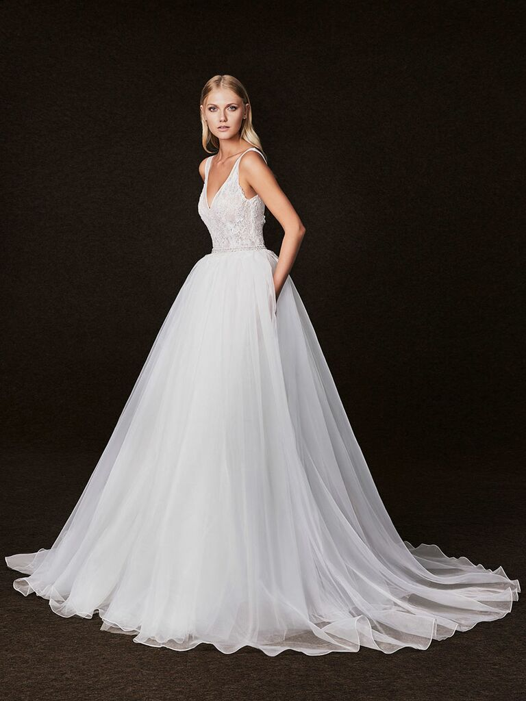 Victoria Kyriakides Fall 2017 lace v-neck bodice wedding dress with aline skirt and pockets