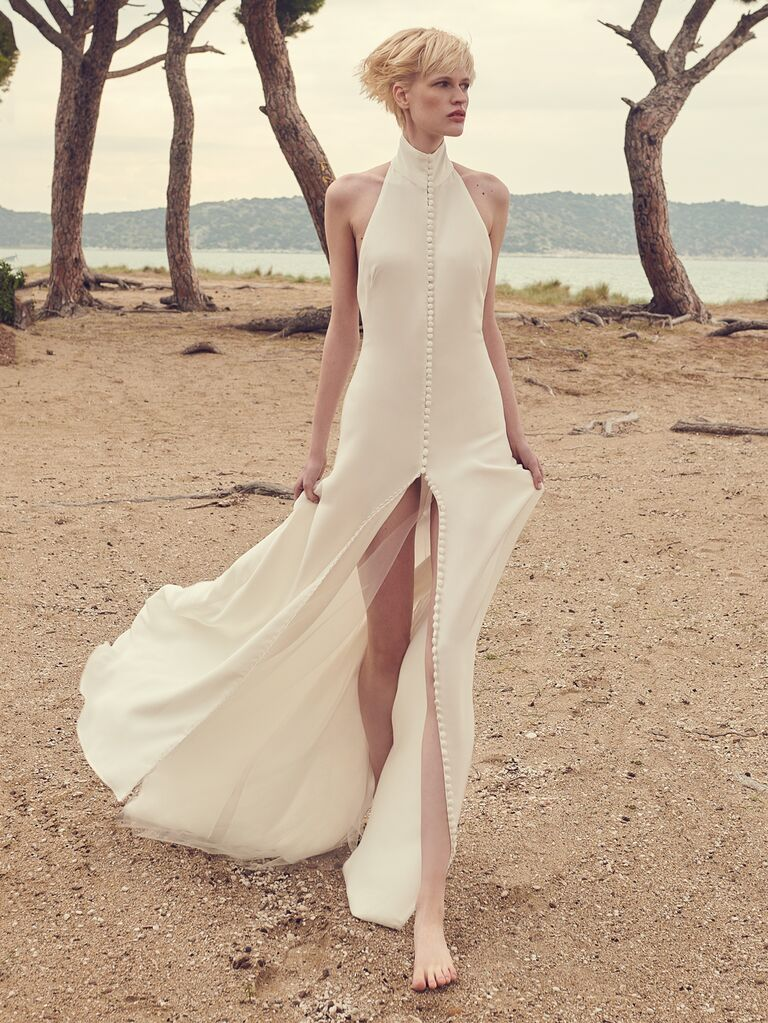 Costarellos​​ sexy wedding dress with slit