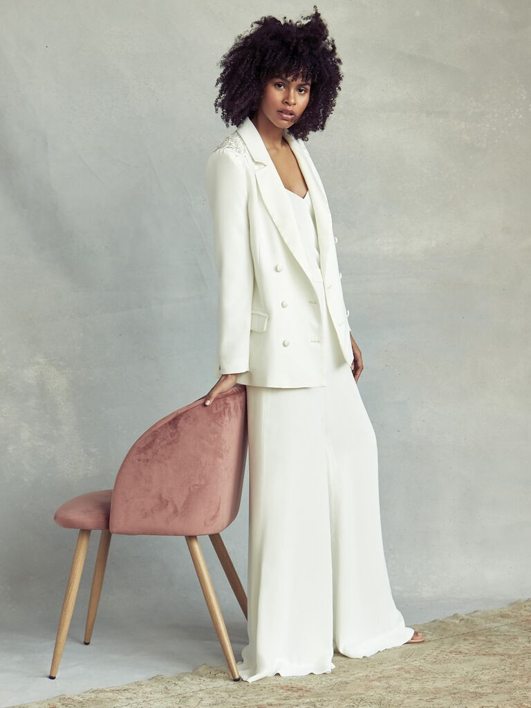 Savannah Miller Spring 2020 Bridal Collection bridal look with oversize embellished jacket