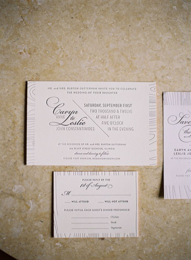 I am a graphic designer so I was very excited to design the invitations. Caryn says. The letterpressed invites had a wood grain pattern to tie in their outdoor wedding theme. To add a bit of color, the edges were painted coral.