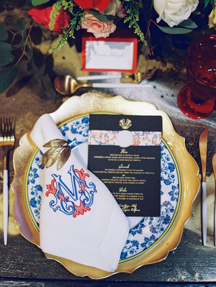 Glam Gold Place Setting with Custom Monogrammed Napkin