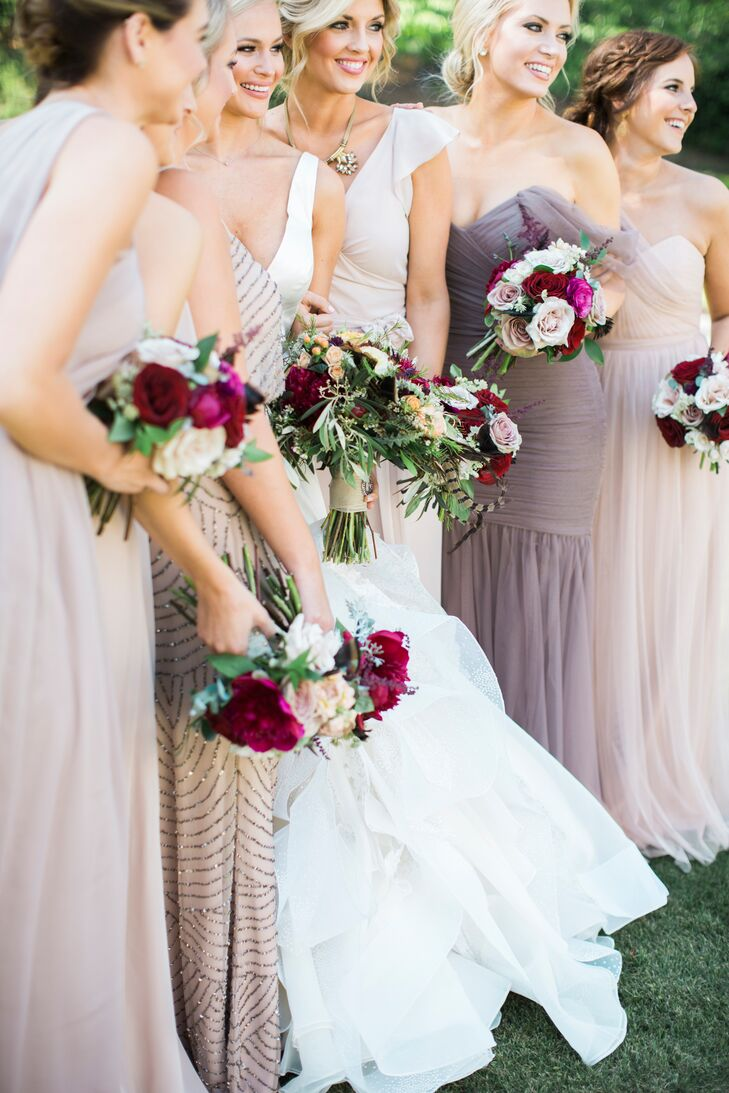 "Bridesmaids wore six different dresses from six designers. ""They were all different shades of neutral, from sand to mocha, in different fabrics by different designers. I wanted them to [be] like their personalities, from sweet to sassy, and it worked perfectly,"" Keeley says."