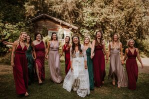 Bohemian Bride and Bridesmaids with Long Mismatched Gowns