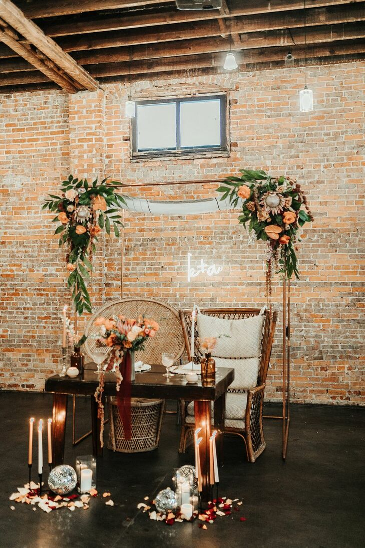 Bohemian Sweetheart Table for Reception at Fancy Free Nursery in Tampa, Florida