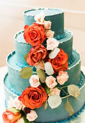 Modern Hand-Painted Teal Wedding Cake with Red Flowers