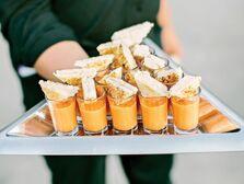 Grilled cheese triangles with tomato soup shooters
