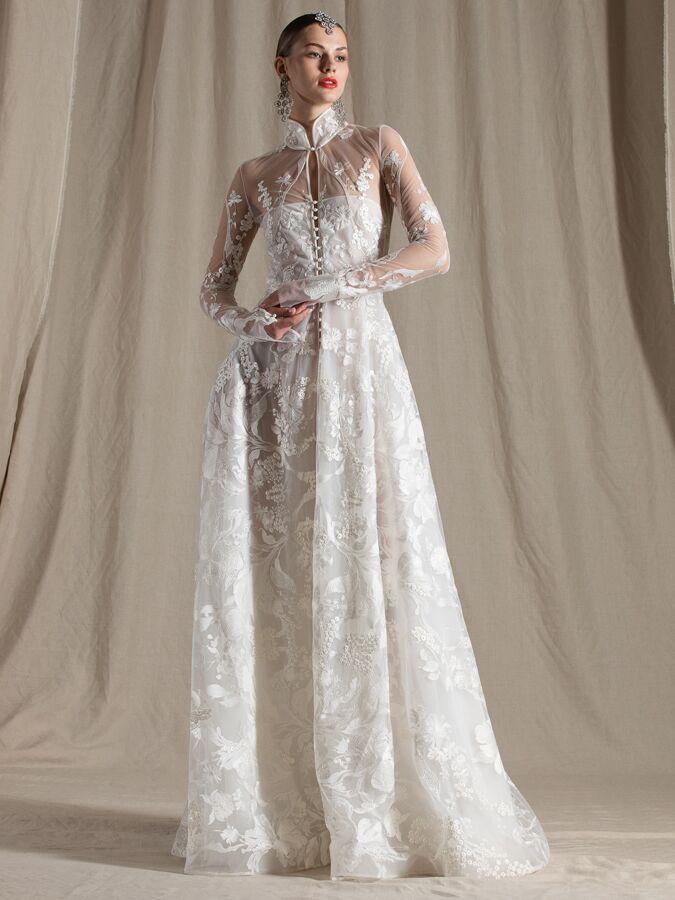 Naeem Khanl A-line lace wedding dress with high neck collar