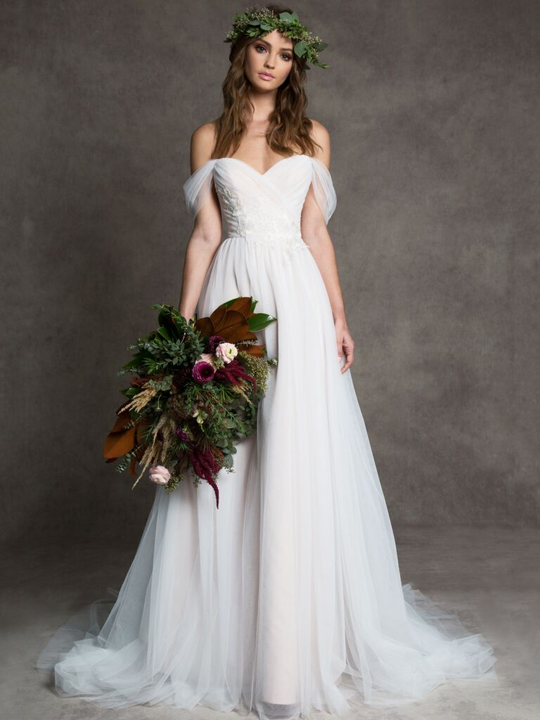Romona New York Fall 2019 A-line wedding dress with draped tulle off-the-shoulder bodice