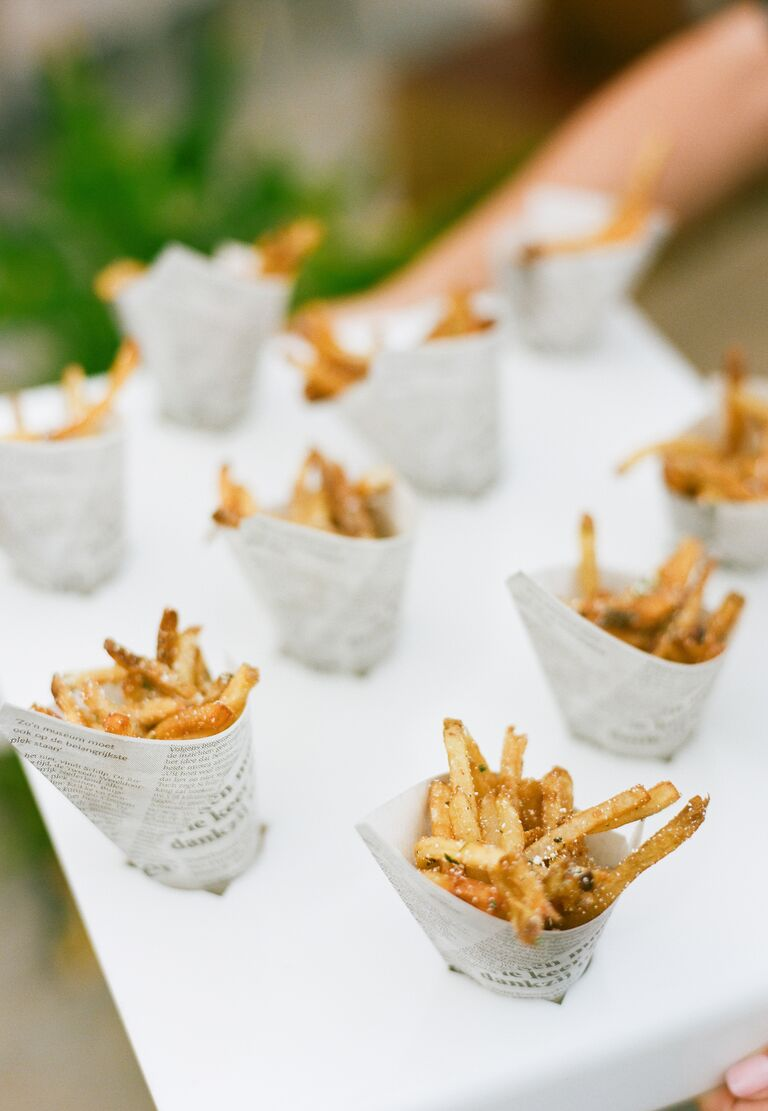 French fries in paper cones served at cocktail hour