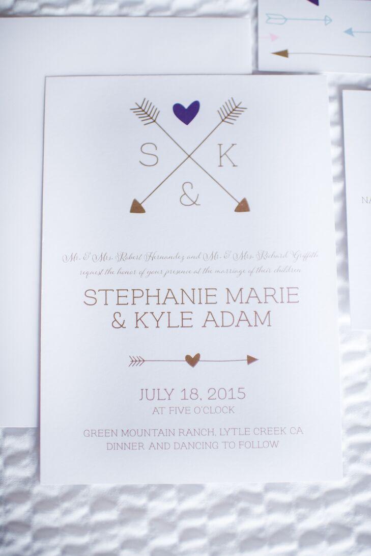 Arrow Monogram Wedding Invitations