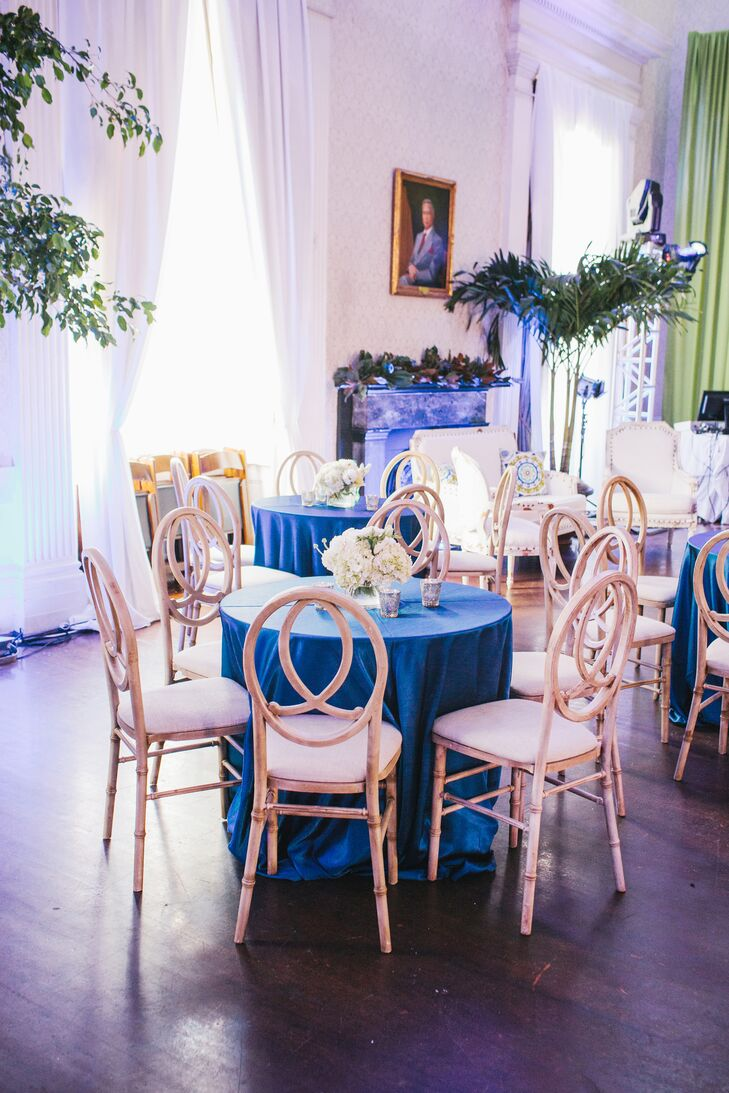 Royal Blue and Kelly Green Reception Decor