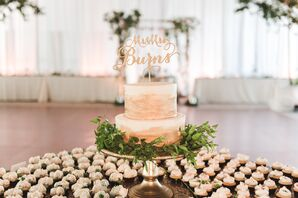 Cake with Gold Brushstrokes and Cupcakes