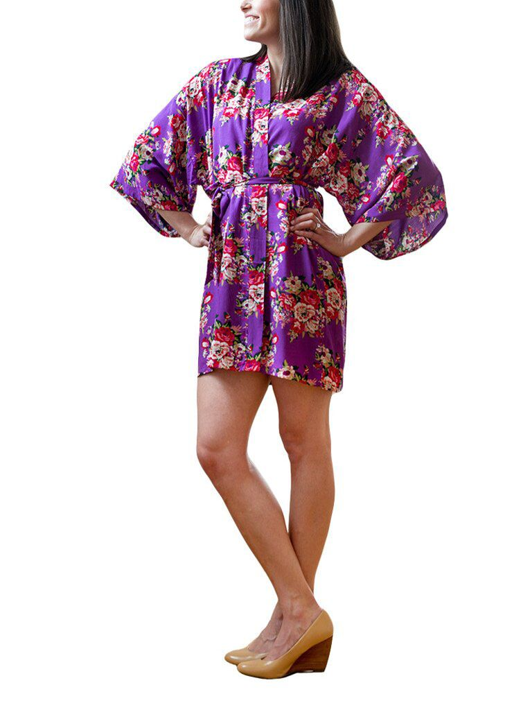 Purple floral bridal robe