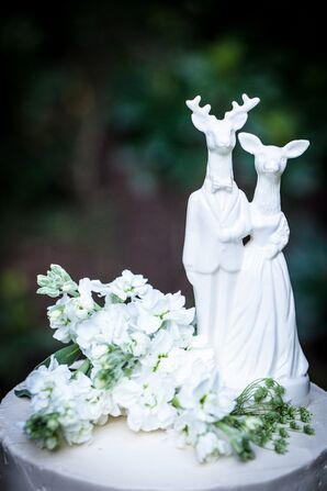 Whimsical White Deer Couple Cake Topper
