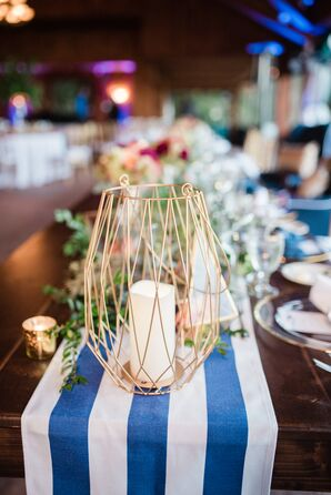 Striped Table Runners and Geometric Wire Vases