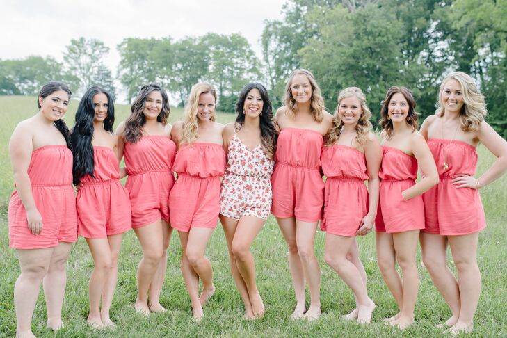 8417be12ffd7 Coral Rompers for Bridal Party Getting Ready