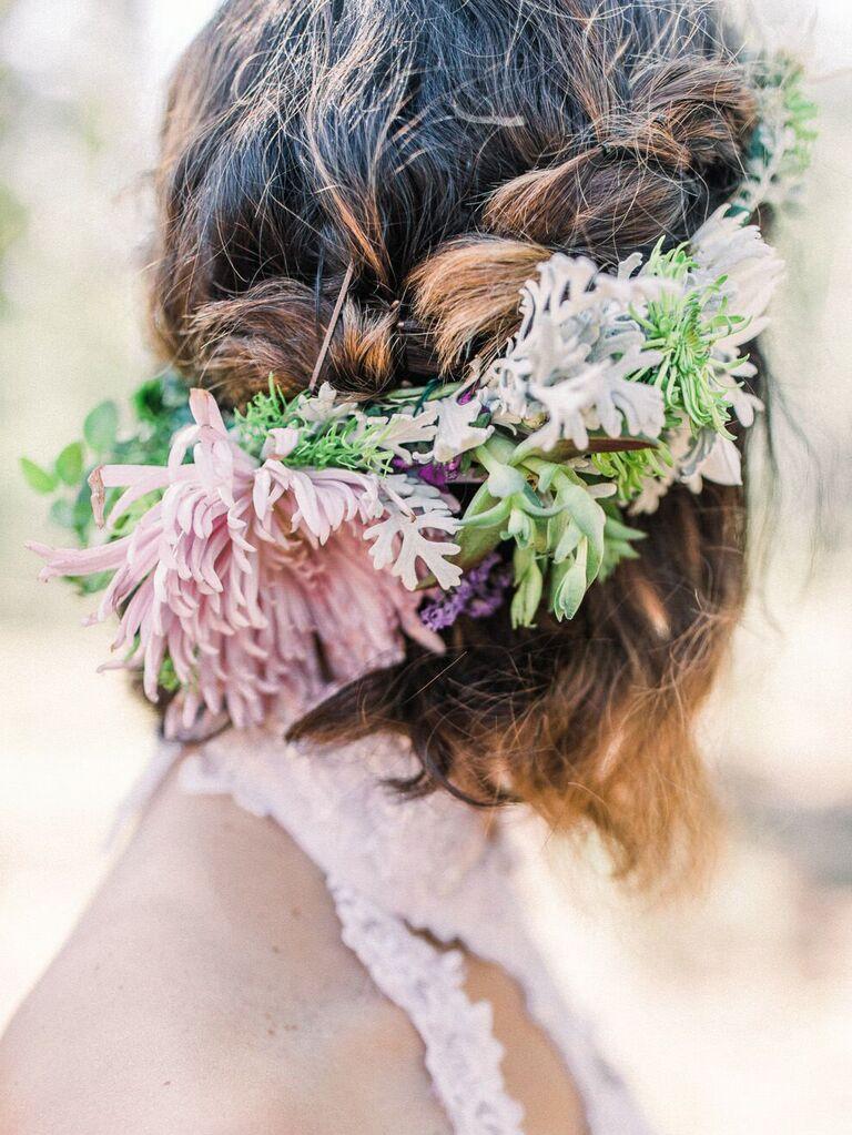 wedding braid hairstyles braided half up with flowers
