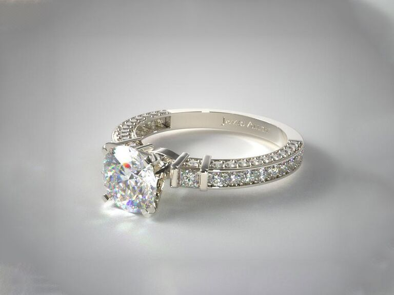 James Allen bar set and three sided pave diamond engagement ring in 14K white gold