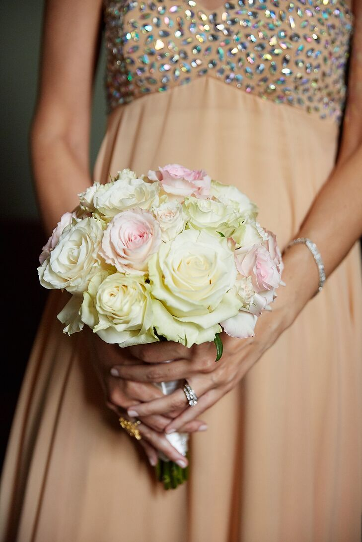 Classic Blush-and-Ivory Rose Bridesmaid Bouquet