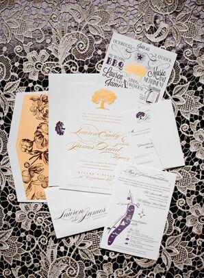 Gold and Purple Wedding Invitations