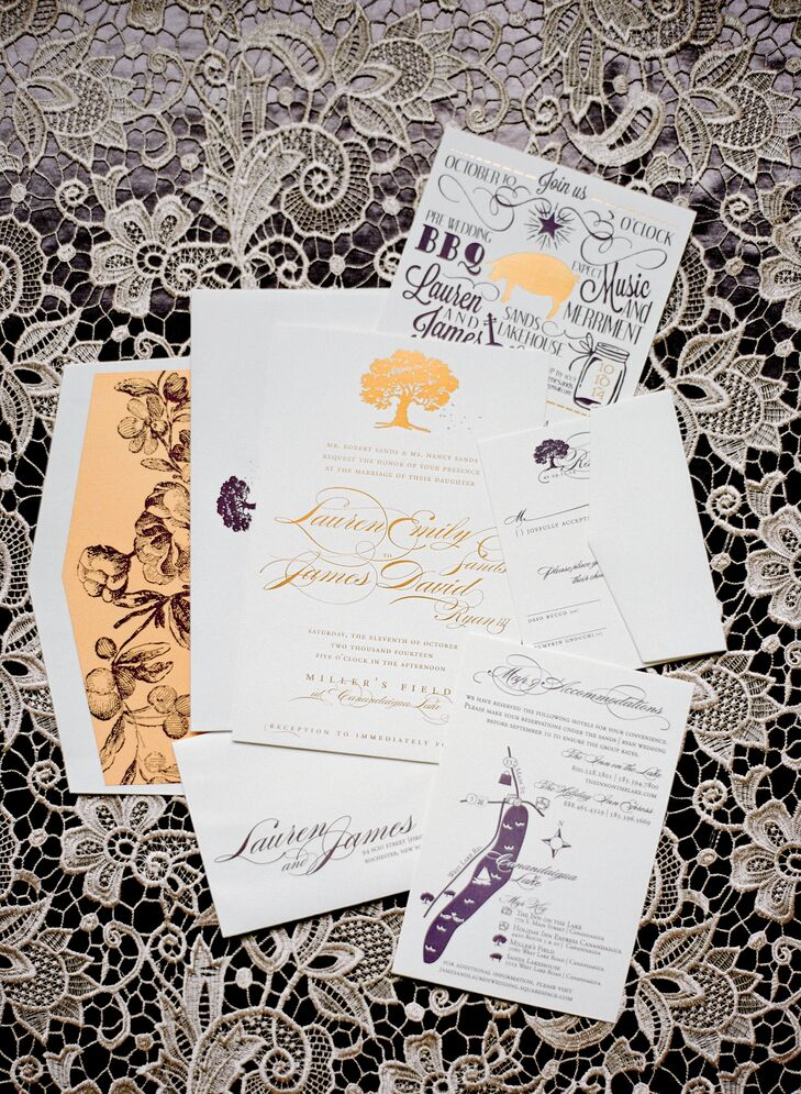 A formal gold script contrasted with playful plum typography to create an unexpected yet formal stationery suite.