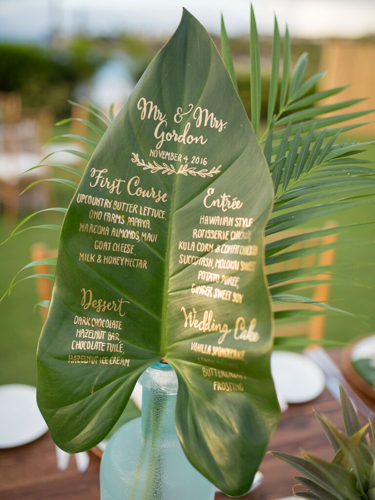 Calligraphed Leaves creative wedding menu display ideas