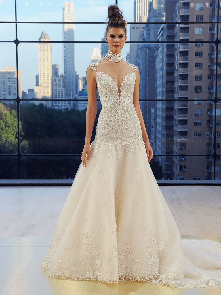 Ines Di Santo Fall 2018 cap sleeve A-line Brooklyn gown with full circular skirt