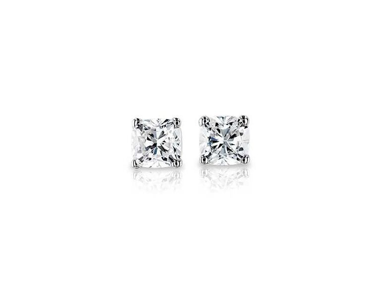 Blue Nile diamond earrings in platinum