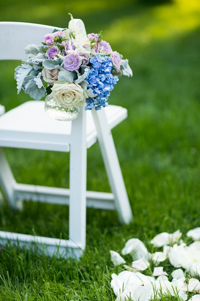 Lavender and Blue Rose Aisle Decor