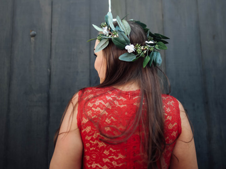 boho silk flower crown with eucalyptus and greenery