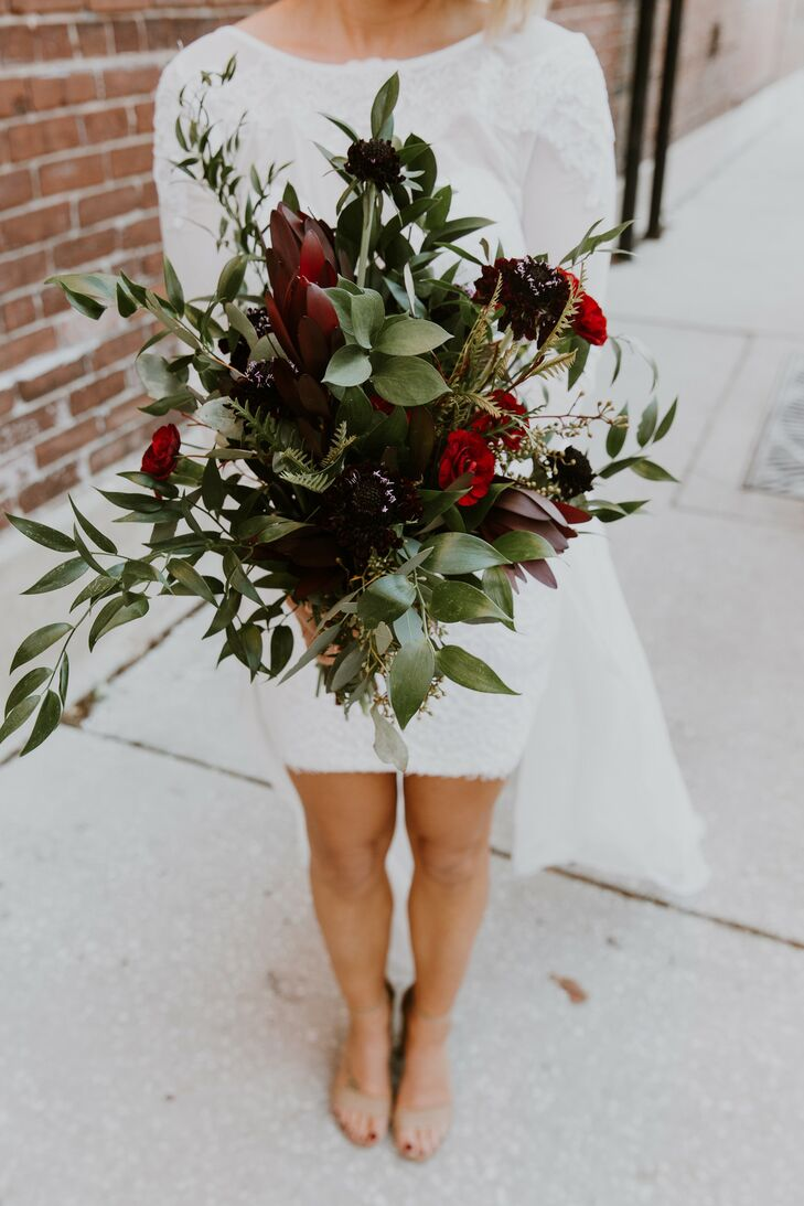 Greenery Bouquet With Burgundy And Red Scabiosa And Proteas