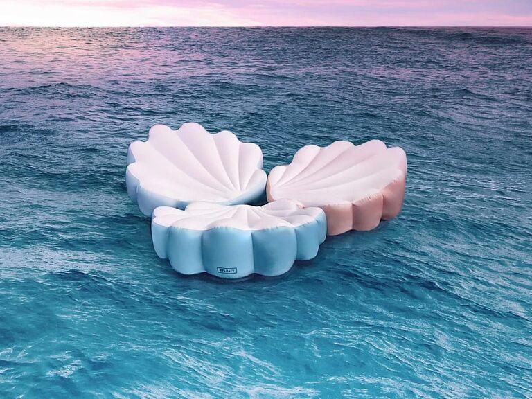 Mermaid themed bachelorette party seashell pool float
