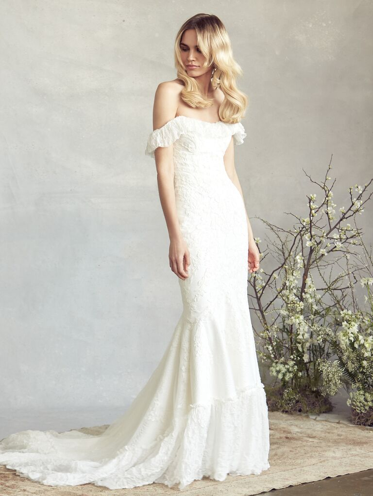 Savannah Miller Spring 2020 Bridal Collection ruffled off-the-shoulder lace wedding dress