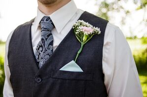 Pink Carnation and Baby's Breath Boutonniere