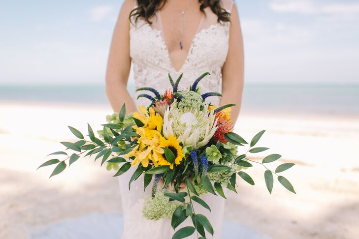 Bright King Protea, Sunflower, Orchid and Veronica Bouquet