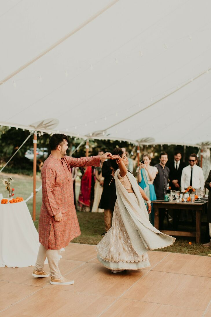 First Dance During Indian Wedding at Overbrook House in Buzzards Bay, Massachusetts
