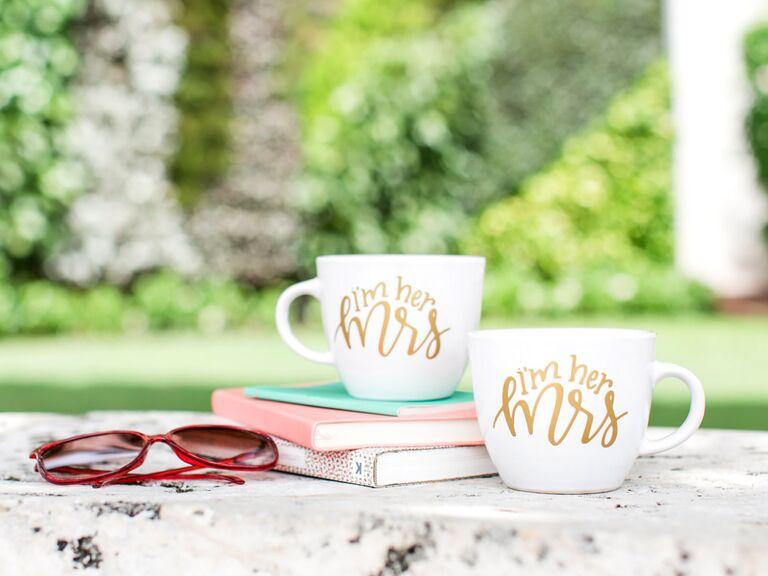 Etsy Mrs. & Mrs. mug set lesbian wedding gift ideas