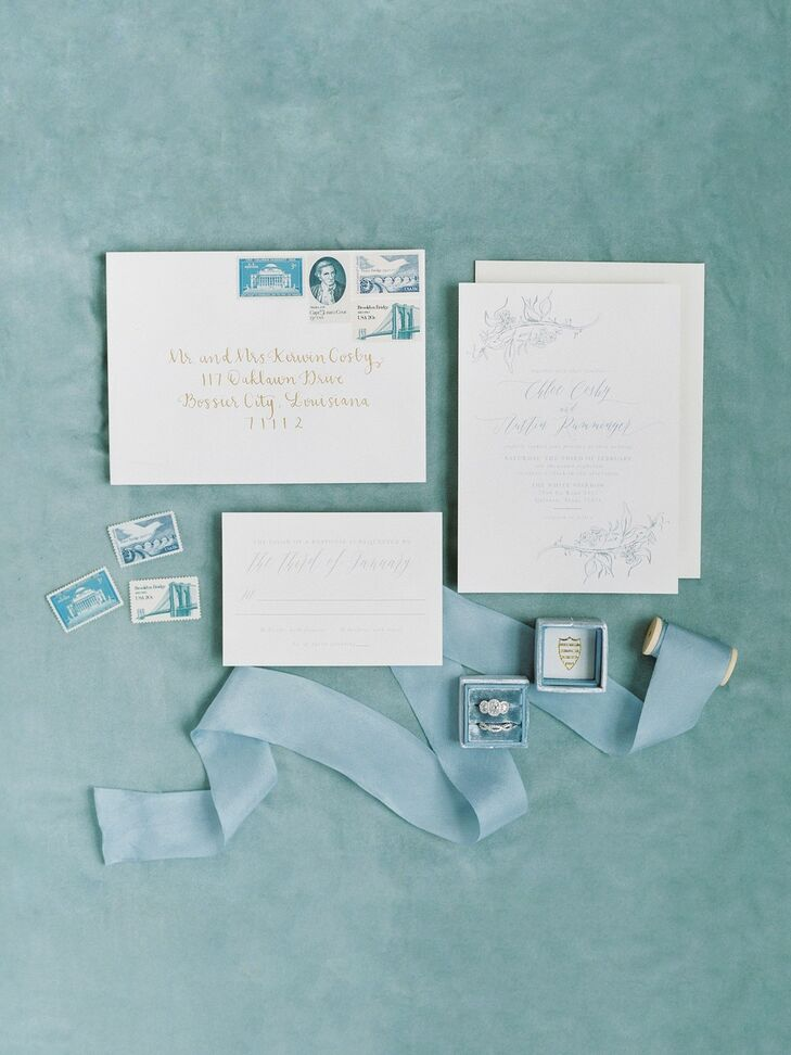 Elegant, Traditional Invitations with Baby-Blue Font
