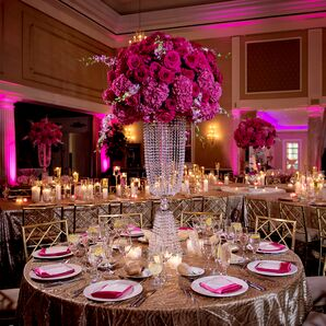 Luxe Ballroom Reception with Metallic and Hot-Pink Details