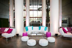 Colorful, Modern Seating Areas at Reception
