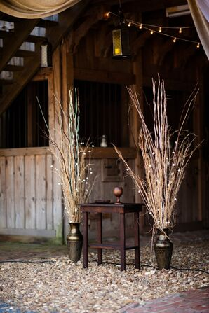 Dried Wheat Grass and Rustic Wood Ceremony Backdrop